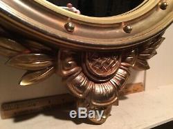 Nice Vintage Syroco Convex Bulls Eye Wall Mirror Federal Style Large 17 x 28