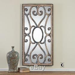Ornate Wood Scroll 48 Large Wall Mirror Architectural Taupe Brown Gray Curved