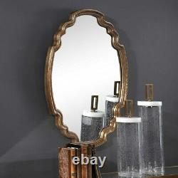 Oval Wall Mirror Gold Leaf 25x35 Curved Shaped Wood Large Shield Farmhouse