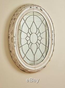 PRIMITIVE DISTRESSED METAL LARGE MIRROR IN AGED CREAM By PARK DESIGNS