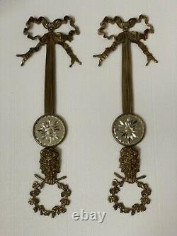 Pair French Brass Wall Sconces Plaque Etched Mirror Faces Ribbon Wreath 24