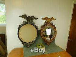 Pair Large Vintage Gold Bullseye American Eagle 29 Syroco Wall Hanging Mirrors