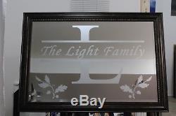 Personalized Mirror XL Large Wood Or Antique Wall Monogram Decoration Unique