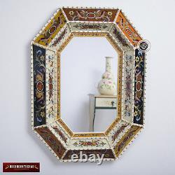 Peru Handpainted Glass Wood Decorative Wall Mirror Arts Crafts Large Mirror