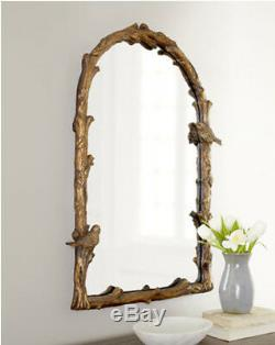 Plaza Arch Bird Branch Large Wall Mirror 37 Mantle Vanity Tuscan Aged Gold Leaf