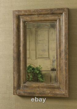Primitive Large Framed Wall H Wood Mirror Distressed Finish Rustic FREE SHIP