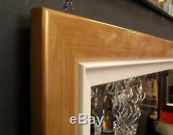 Quality Modern Large Bevelled Wall Mirror Solid Wood gold/white Frame 106x76cm
