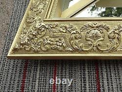 RARE Large Vintage Gold Leaf Wooden Wood Wall Hanging Mirror Shelf Cabinet Curio