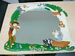 Rare Disney Disneyland Bambi 1960's Large Resin Wall Mirror