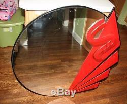 Rare Round Large Wall Mirror David Marshall Vintage 1993 Wood Red Black