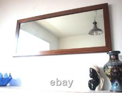 Rectangle Antique 1970s Wall Mirror Large Vintage Teak Wood Edge Vintage Retro