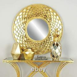 Round Golden Wall Mirror Metal Glam 3D Frame Large Mantle Entryway Accent Decor