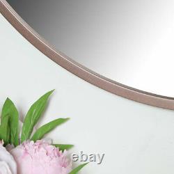 Round Rose Gold Pink Wall Mirror large thin framed copper modern scandi decor