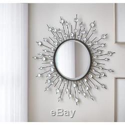 Round Silver Mirror Modern Sunburst Pattern Large Wall Home Decor Style NEW