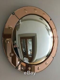Round Vintage Convex Frameless Peach Tinted Porthole Wall Mirror Large 51cm m214