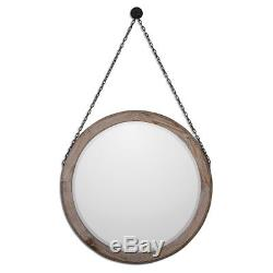 Round Wood Wall Mirror on Chain Large 34