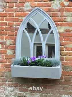 Rustic Outdoor Arched Victorian Gothic Glass Wall Mirror with Large Planting Box