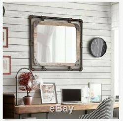 Rustic Wall Mirror Industrial Wood Farmhouse Bathroom Weathered Large Pipe Bath