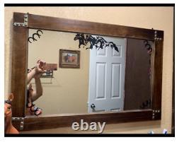Rustic Wood Wall Mirror Large Bath Vanity Hall Entry Bathroom Farm Lake House