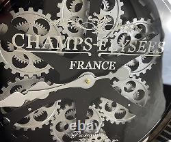 Sassy Home Large Black Metal Frame Mirrored Face Champs Elysees Moving Gear Wall