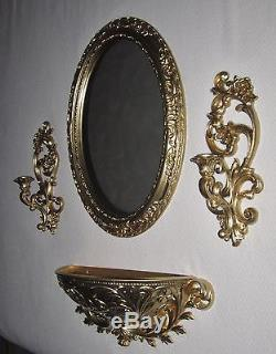 Set of 4=Vtg-GOLD Ornate-Wall-Oval Mirror-SYROCO-Candle Sconces-Large Planter