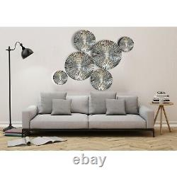 Set of 6 Mirror Finish Aluminium Metal Wall Sculpture Decorative Wall Hanging