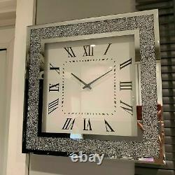 Silver Square Wall Clock Diamond Crush Sparkly Mirrored Large Bevelled 50cmX50