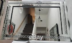 Sparkly Exposed Floating Crystal Large Silver Wall Mirror 120cmx80cm Bevelled