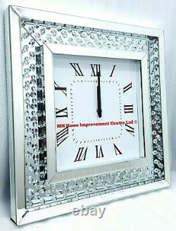 Sparkly Floating Crystal Large Silver Mirrored Square Wall Clock 50x50cm Glitz