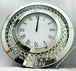 Sparkly Floating Crystal Sparkly Large Round Silver Mirrored Wall Clock Glitz