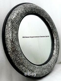 Sparkly Silver Black Mosaic Crackle Large Round Bow Wall Mirror 80cm Hand Finish