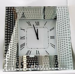 Sparkly Silver Mirrored Glitter Large Square Wall Clock 50x50cm Living Room