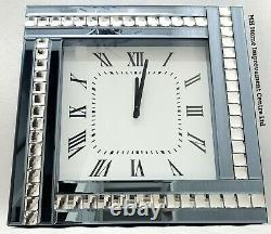 Sparkly Silver Smoke Grey Blue Mirrored Crystal Wall Clock Large 45x45cm