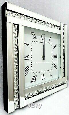 Sparkly Wall Clock Exposed Floating Crystal Silver Mirrored Large 45x45cm