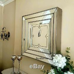 Square MIRRORED WALL CLOCK aged champagne finish Large venetian style clock 60cm