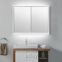 Surface Mount Medicine Cabinet Wall Mounted Hanging Large White Double Mirror