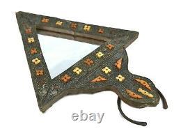 Two Large Moroccan Handmade Mirror Mediterranean Brass Trim and Camel Bone inlay