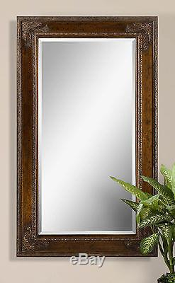 Two New Large 73 Antiqued Finished Frame Beveled Modern Or Vintage Wall Mirror