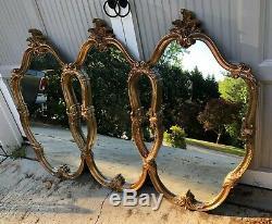 VINTAGE Gold Hollywood Regency Triple Interlocking Wall Mirror LARGE