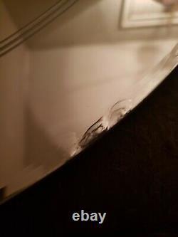 VTG Antique ART DECO Etched LRG 24 Round Mirror Tbl Top or Wall original label
