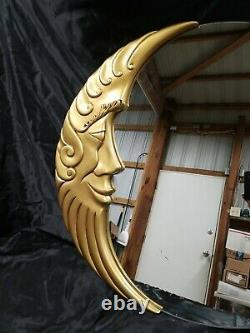 VTG LARGE ART DECO GOLD MOON FACE ROUND WALL MIRROR MID CENTURY MODERN 1970s