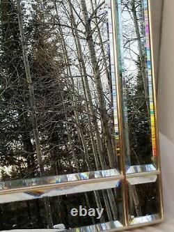 VTG Large Custom Art Deco Arched 9 Panel Beveled Wall Mirror Heavy Gold Framed