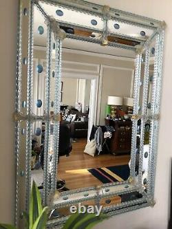 Venini antique wall mirror Large 47Length 35 Inches W vintage Blue cabochons