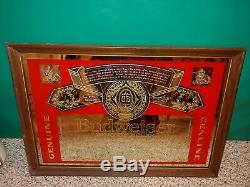Vintage 80s/90s Budweiser Bud Beer Large 26 x 18 Label Mirror Wall Bar Pub Sign