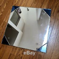 Vintage-Antique 1940s ORIG ART DECO Blue-Beveled Accent LARGE WALL MIRROR 24X24
