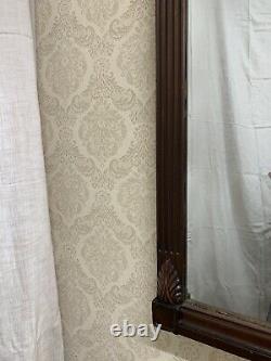 Vintage Antique Large Carved Dark Wood Wall Mirror
