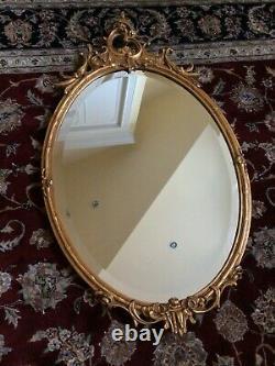 Vintage Baroque Carved Wood Gold Gilt Gesso Oval Mirror Beveled LARGE