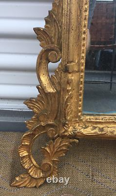 Vintage Carved Italian Gilt Wood Large Rococo Wall Mirror