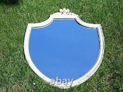 Vintage Federal Style Large Aged White Washed Distressed Wood Shield Wall Mirror