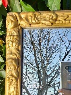 Vintage French Provincial Gold Gilt Large Ornate Wood Rectangal Wall Mirror 32